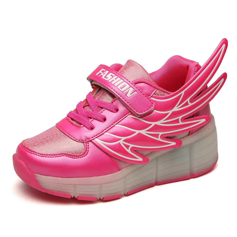 New Children Shoes with Wheels Wing Glowing Kids Led Light up Shoes for Boys Girls Sneaker Pink tenis sneakers rollers skate