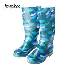 Сапоги на резиновой подошве женские резиновые водонепроницаемые сапоги круглый носок бренд 2017 удобные Kawaihae женские сапоги по колено сапоги 329E