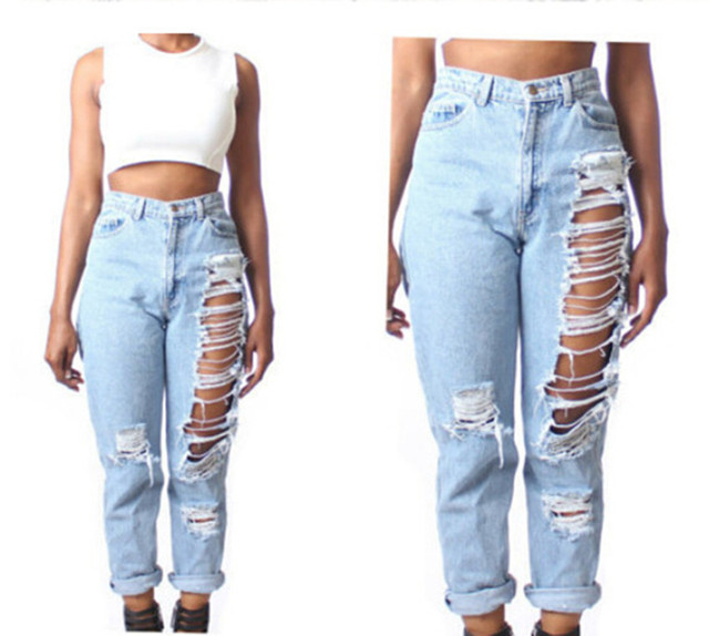 Women fashion straight loose ripped jeans light blue denim jeans high waist  ankle length pants bleach