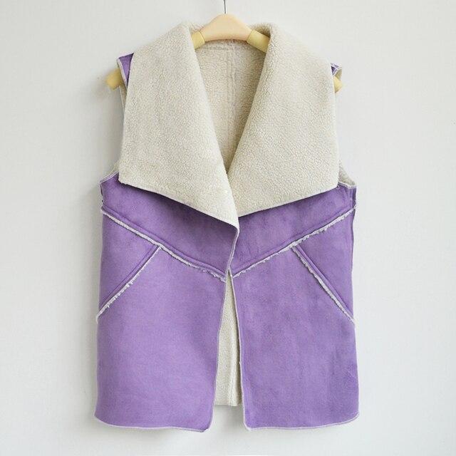 Novas Mulheres 2017 Outono Inverno Suede Leather Jacket Faux Fur Vest Lady Mangas Magro Falso Fleece Outerwear Colete Q4955