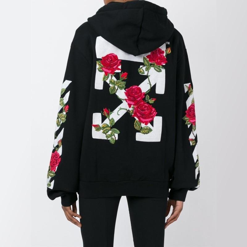 e0cd738c974f ... Winter OFF WHITE Rose Flower Embroidery Zipper Hooded Men Women  Cardigan Long Sleeve Fleece Cotton Hoodies-in Hoodies   Sweatshirts from  Men s Clothing ...