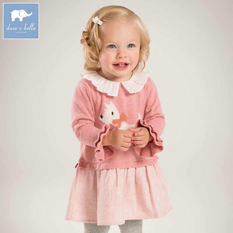 DBZ6136 dave bella/осеннее вязаное платье принцессы с принтом для маленьких девочек; вечерние платья; одежда для дня рождения; детская одежда для младенцев