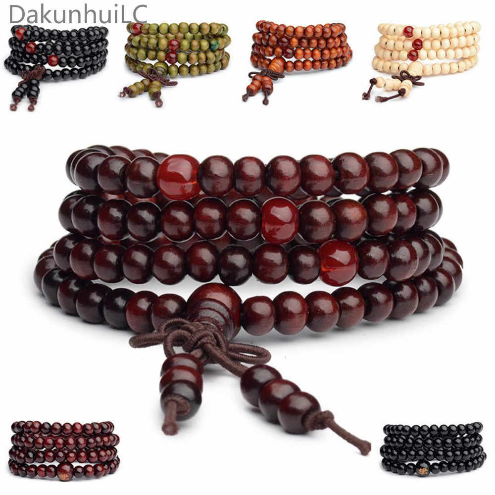 Pulseras 108 الخرز 6 مللي متر خشب الصندل الطبيعي البوذية بوذا الخشب الصلاة حبة مالا للجنسين الرجال أساور مجوهرات بيجو