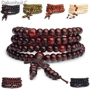 Pulseras 108 Beads 6mm Natural Sandalwood Buddhist Buddha Wood Prayer Bead Mala Unisex Men Bracelets & Bangles Jewelry Bijoux(China)