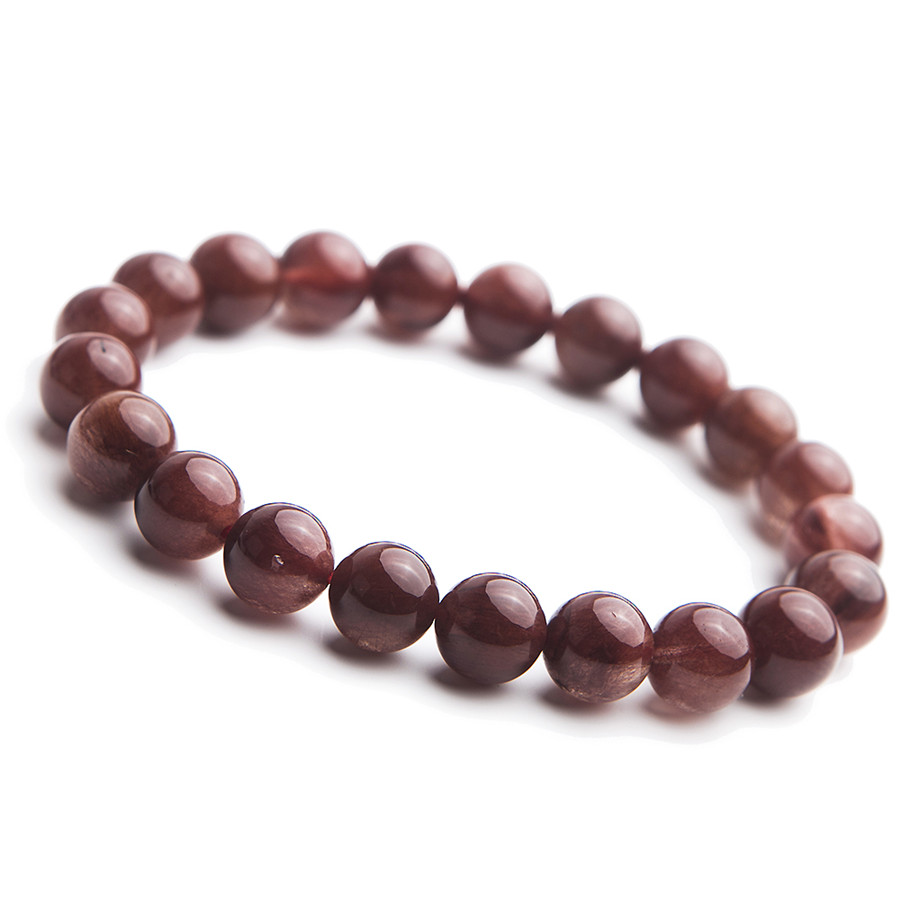 11mm Brazil Natural Red Rutilated Quartz Crystal Clear Round Beads Jewelry Stretch Bracelet For Women
