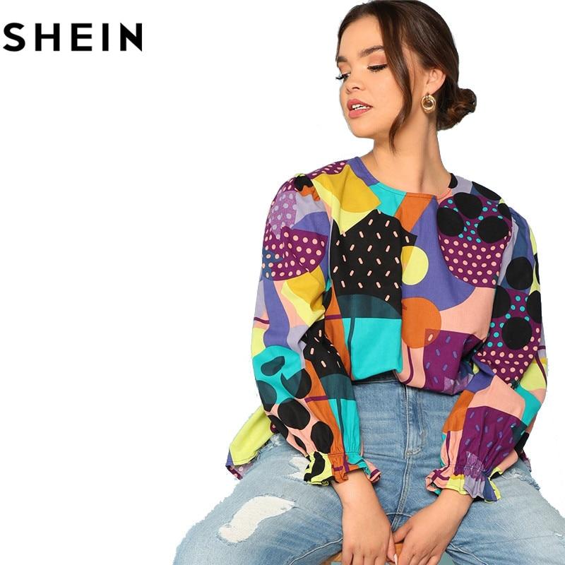 SHEIN Cotton Linen Multicolor Geometric Print Preppy Plus Size Women Blouses 2018 Fashion Long Raglan Sleeve Ruffle Cuff Top  5