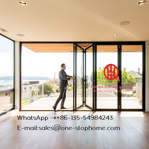 Free Shipping, Aluminum Bi-Folding Door, 144''wide X 80''high,Aluminium Bi-folding Exterior Doors, Aluminium Folding Door