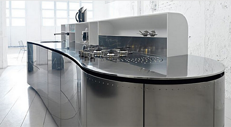 High Class Modern Stainless Steel Top Kitchen Cupboard In