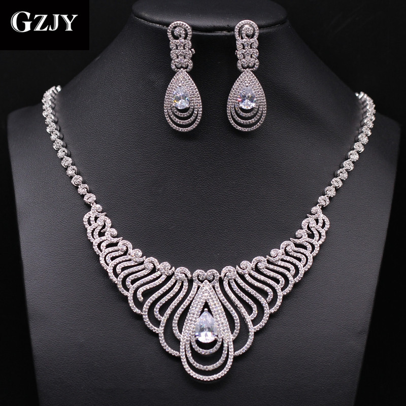 GZJY Top Quality White Gold Color Multi Shape African CZ Stones Big Wedding Bridal Costu ...