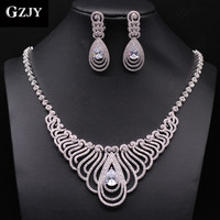 GZJY Top Quality White Gold Color Multi Shape African CZ Stones Big Wedding Bridal Costume Jewelry