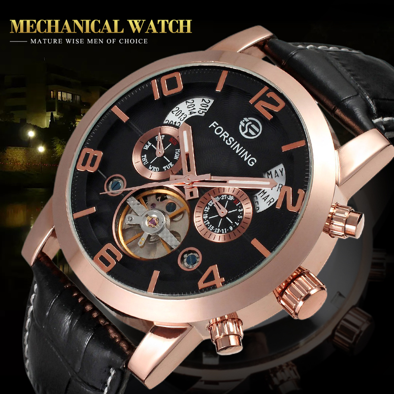 Forsining Men's Watch Luxury Multifuction Automatic Skeleton Genuine Leather Strap Classic Wristwatch Color Rose Gold FSG165M3S3 ultra luxury 2 3 5 modes german motor watch winder white color wooden black pu leater inside automatic watch winder