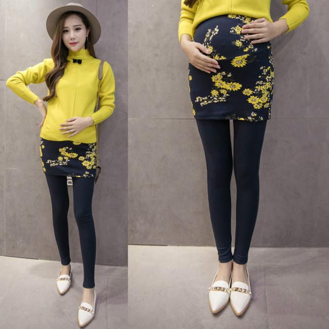 2016 moda Outono cultivar a moralidade mulheres grávidas leggings culottes falsos two-piece outfit barriga Grávida calças