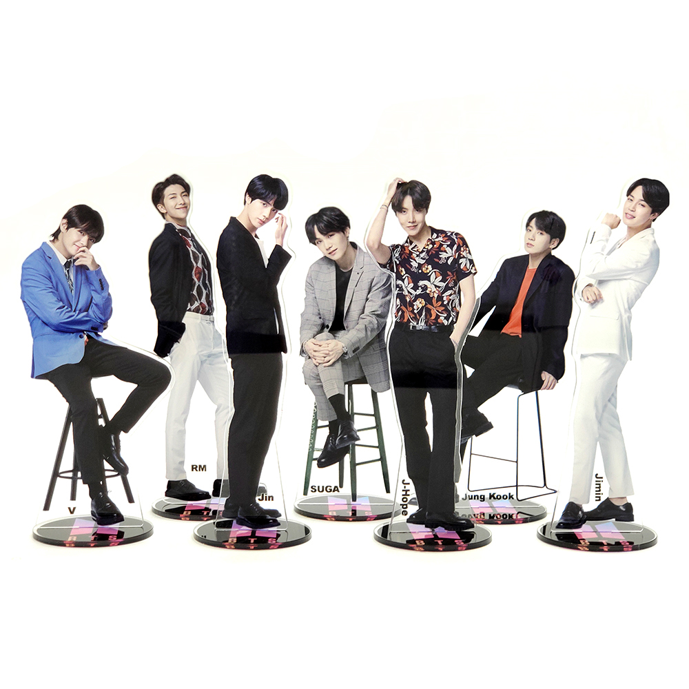 Bangtan Boys Groups KPOP Stars Group Acrylic Stand Figure Model Double-side Plate Holder Cake Topper Idol