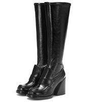 fashion style punk snake leather knee high boots woman brand red black martin short boots autumn winter snow boots high heels