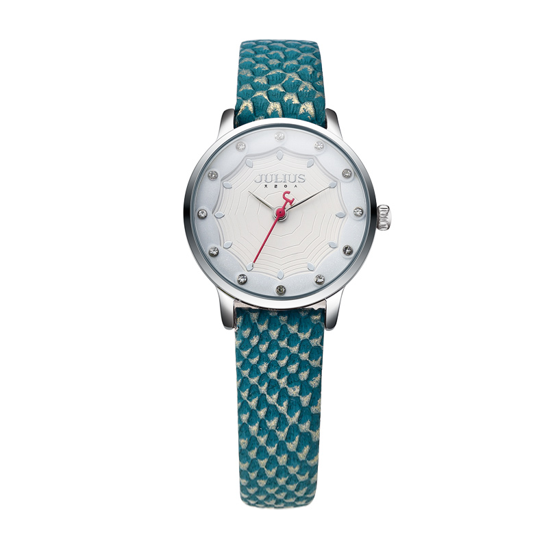 JULIUS Colorful Ladies Watch Fashion For Women Crocodile Leather Elegant Analog Quartz Japan Movt Watch For Young Girl JA-858