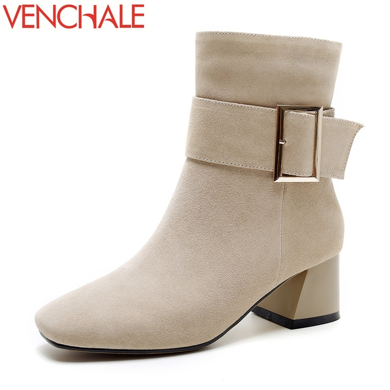 VENCHALE 2017 ankle boots fashion high-end and elegant adding to the gas field grind arenaceous square toe women winter boots adding value to grains