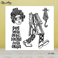 ZhuoAng Cat/Woman/Clothes Clear Stamps/Seals For DIY Scrapbooking/Card Making/Album Decorative Silicon Stamp Crafts