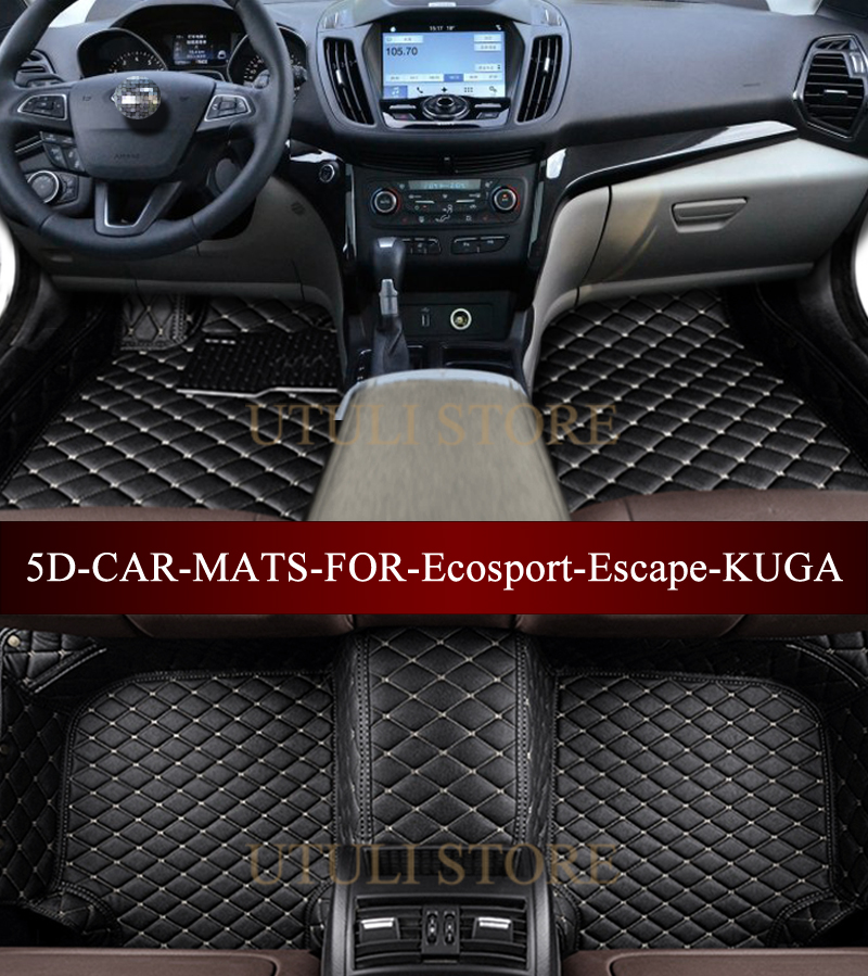 Leather Car Floor Mats For Ford Ecosport Escape KUGA