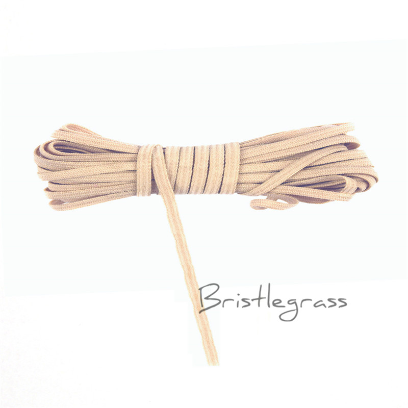 BRISTLEGRASS 5 Yard 1/8 3mm Tan Solid Color Skinny Elastics Spandex Band Kid Hairband Headband Tie Lace Trim DIY Sewing Notions