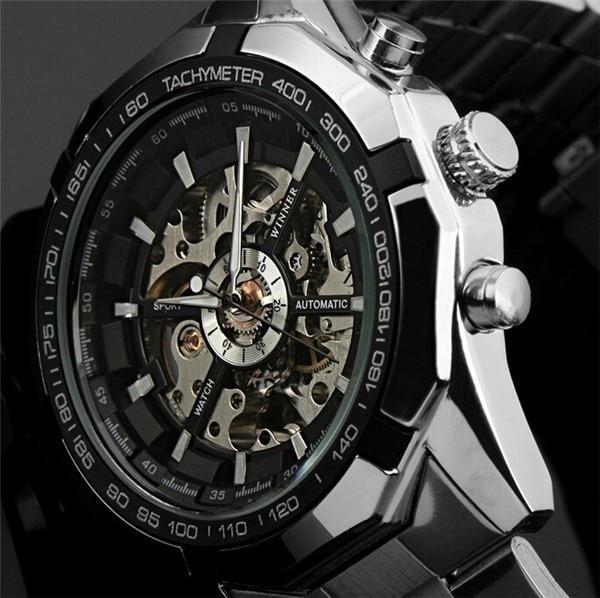 الفائز ساعات أوتوماتيكية وصفت الرجال الكلاسيكية الفولاذ المقاوم للصدأ الذاتي الرياح الهيكل العظمي الميكانيكية ساعة الموضة عبر ساعة اليد