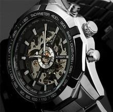 זוכה אוטומטי שעונים ממותג Mens קלאסי נירוסטה עצמי רוח שלד מכאני שעון אופנה צלב שעוני יד