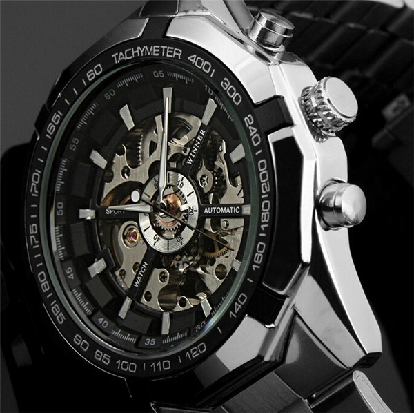 Automatic Watches Branded Mens Classic Stainless Steel Self Wind Skeleton Mechanical Watch Cross Wristwatch