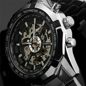 Image 1 - WINNER automatic Watches Branded Mens Classic Stainless Steel Self Wind Skeleton Mechanical Watch Fashion Cross Wristwatch