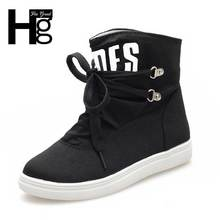 HEE GRAND New Women Canvas Fashion Boots Lace-up Alphabet Women Shoes Round Toe Flat Solid Shoes XWX2593