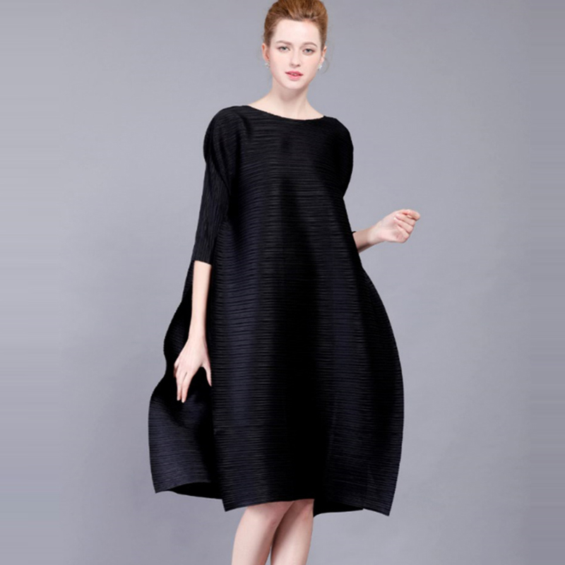 High End Fashion Black Women S Dresses Miyake Pleated Design O Neck 3 4 Sleeves Loose
