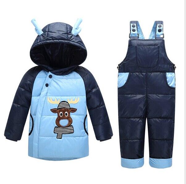 Çocuk Snowsuit Giyim kayak takım setleri Kış Aşağı Ceketler Kızlar Boy Çocuk Sıcak Ceket Toddler kat + Pantolon Seti Geyik baskı Giyim