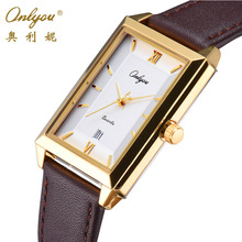 ONLYOU Wrist Watches for Men Calfskin Leather Strap Gold Black Rectangle Quartz Watch Fashion Leisure Business Male Clock 81089