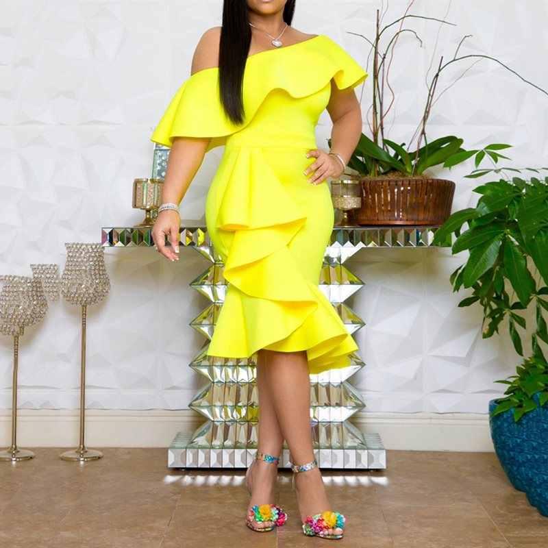 Летние Элегантные вечерние желтые винтажные женские платья без бретелек 2019 с рюшами красные с открытыми плечами сексуальное Клубное женское модное платье до середины икры