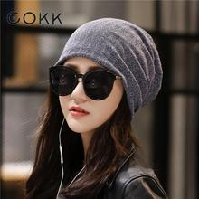 COKK New Autumn Spring Thin Casual Womens Slouchy Beanie Wool Hat For Women Bonnet Female Skull Beanies Caps Double Layer 2019
