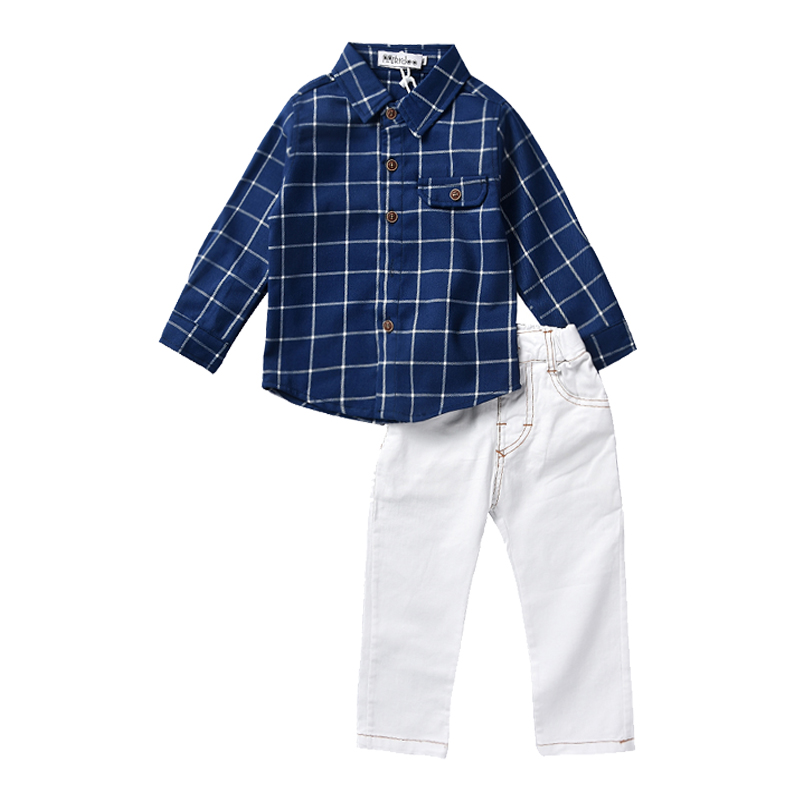 Boy Clothing Sets 2018 Autumn Kids Clothes Suits Gentleman Plaid Shirts+Trousers 2PCS Casual Children Outfits Set for Baby Boy 2016 fashion kids boys clothing set spring autumn children gentleman set long sleeve plaid shirts t shirt jeans baby boy clothes