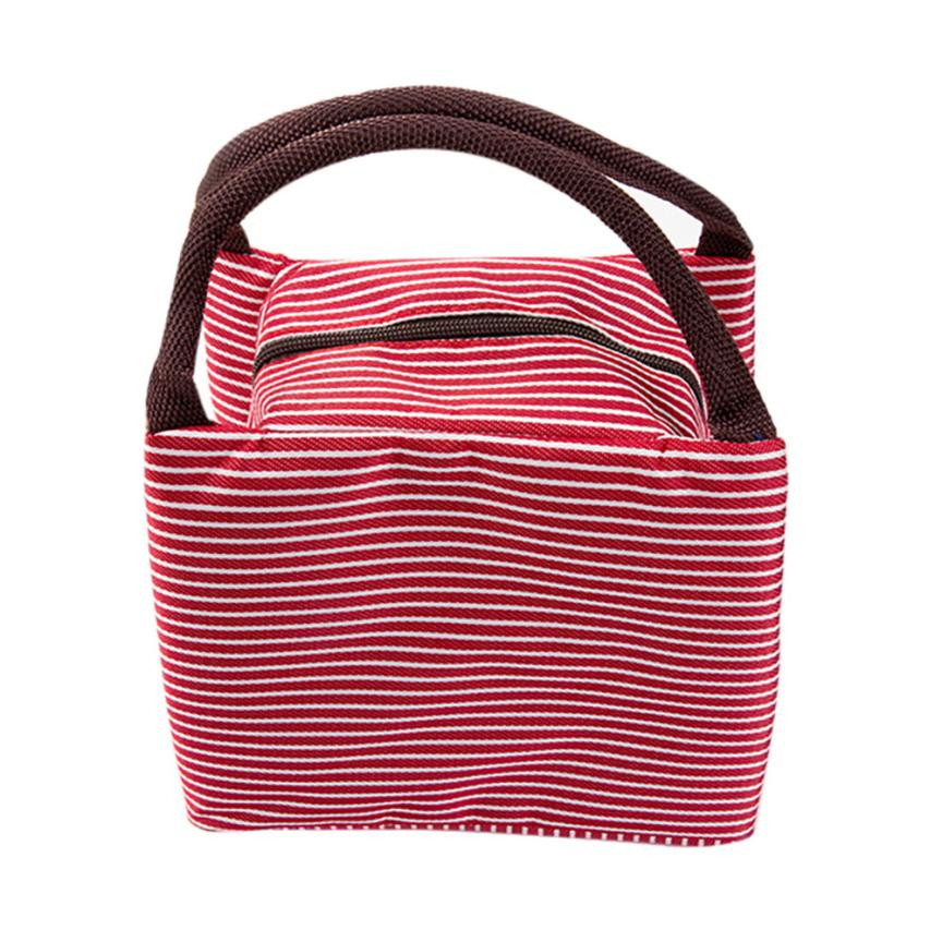 Portable Lunch Bag Canvas Striped Food Picnic Insulated Cooler Bags For Women Men Kids Lunch Box Bag Tote#121 striped tote lunch bag
