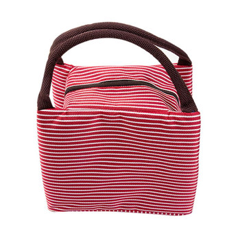 Portable Lunch Bag Canvas Striped Food Picnic Insulated Cooler Bags For Women Men Kids Lunch Box Bag Tote#121