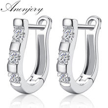 ANENJERY pendientes Silver Color Earrings Harp Zircon Studs Horse Shoe Earrings For Women oorbellen boucle d'oreille(China)