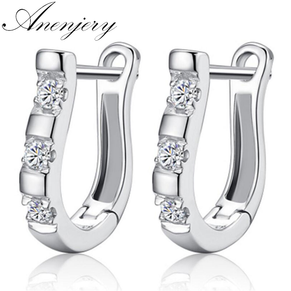 Anenjery pendientes 925 Sterling Silver Earrings Harp Zircon Studs Horse Shoe Earrings For Women oorbellen boucle d'oreille