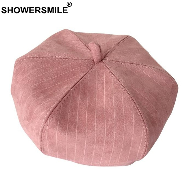 2ffa3fc01ae70 SHOWERSMILE Pink French Beret Hat Women Vintage Stripe French Painter Hat  Female British Style Classic Cute Autumn Artistic Cap