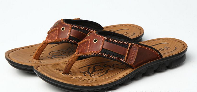 Men s fashion flip flops top quality men s sport leather font b sandals b font