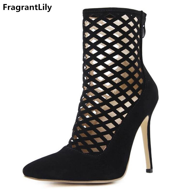 FragrantLily 2018 Spring Sexy Cutout Cage Ankle Boots Pointed Toe Gladiator Women Hollow Pumps High Heel Shoes zapatos mujer famiao women boots sexy high heel zapatos mujer tacon 2017 gary black buckle ankle boots for women shoes pointed toe winter