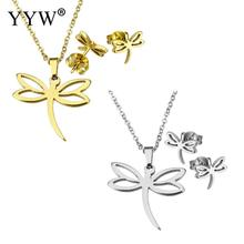 Fashion Gold/Sliver-Color Stainless Steel Set Women Bridal Jewelry Sets Dragonfly Necklace Earrings Wedding Jewelry Set Women