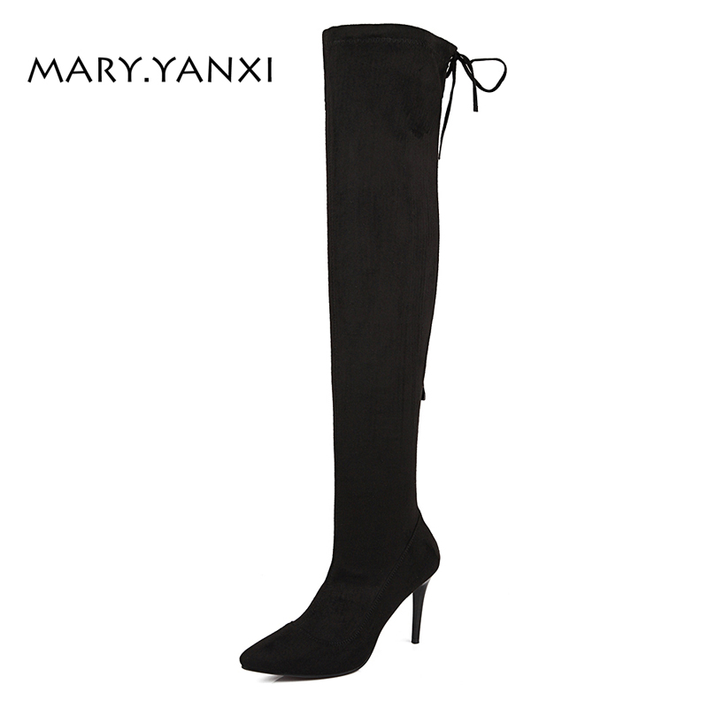 Women Shoes Long Boots Over-the-Knee Boots Flock Nubuck Zip Zipper Pointed Toe High Thin Heels Big Size Lycra Cross-tied Solid pointed toe over the knee boots women high heels sexy motorcycle boots winter shoes women pumps fashion ladies shoes big size