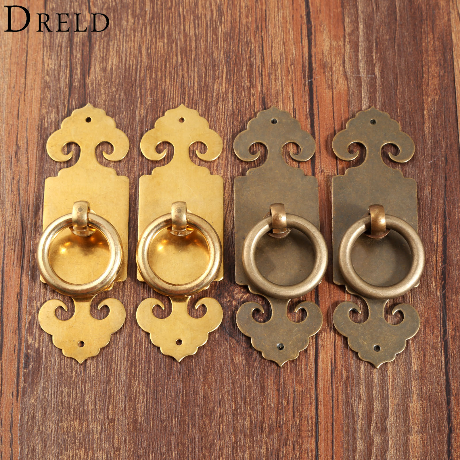 DRELD 2pcs Antique Chinese Pure Copper Door Furniture Handle Brass Lock Cabinet Drawer Pull Handle Knob Furniture Hardware 1Pair free shipping furniture brass handle knob cabinet drawer single hole shoe closet pull wine cooler handle diy household hardware