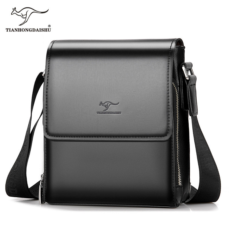2018 Kangaroo Men Bag New Fashion Messenger Bag Men Leather Shoulder Crossbody Bag for Men Two Sizes-small and Large Briefcase japanese pouch small hand carry green canvas heat preservation lunch box bag for men and women shopping mama bag