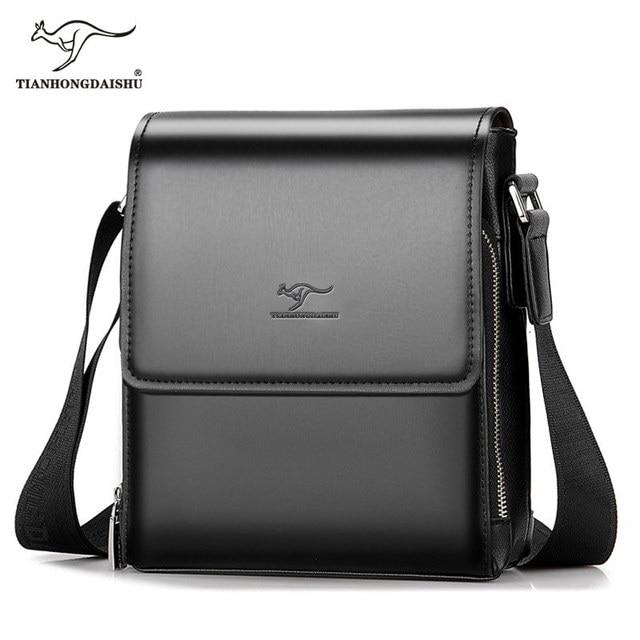 2018 Kangaroo Men Bag New Fashion Messenger Leather Shoulder Crossbody For Two