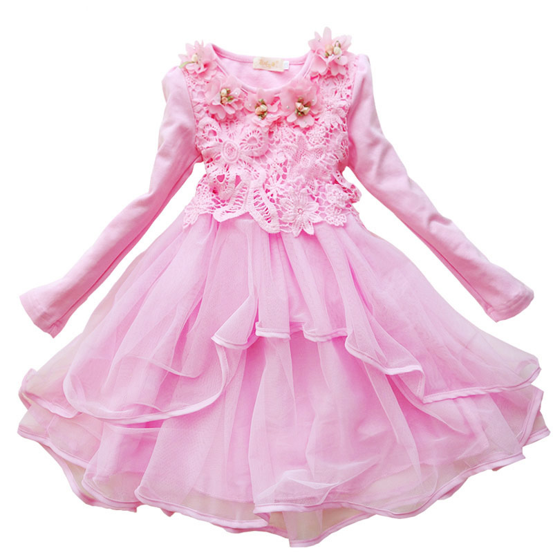 Flower kids girls Dress Spring Autumn Long sleeve cute baby Princess Lace clothes 2 6 7 10 12 years old Party Children's Costume