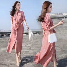 Spring New 2018 Women Fashion High Waist Shirt Dress Female Solid Color Elegant Midi Long Dresses Woman Casual Dress Vestidos