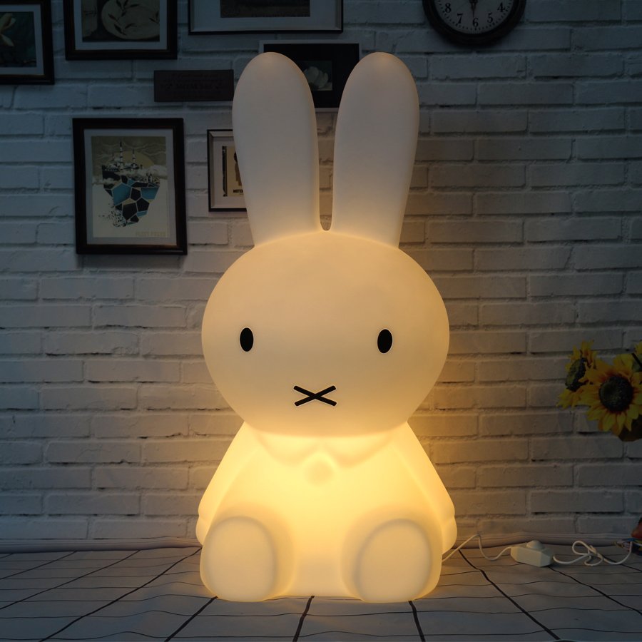 50CM Dimmable Rabbit Lamp Led Night Light for Baby Children Kids Gift Animal Cartoon Decorative Bedside Bedroom Living Room beiaidi 7 color usb rechargeable rabbit led night light dimmable animal cartoon light with remote baby kids christmas gift lamp