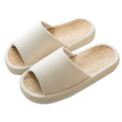 LHWY Zapatillas de Estar por Casa de Mujer Chanclas de Lino Sandalias Interior Zapatos de Playa y Piscina Unisex para Verano Primavera Oto/ño